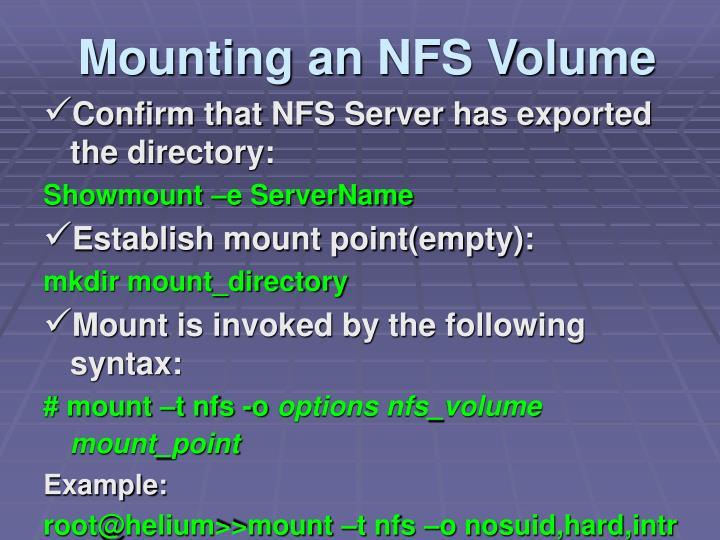 Mounting an NFS Volume