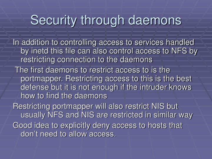 Security through daemons