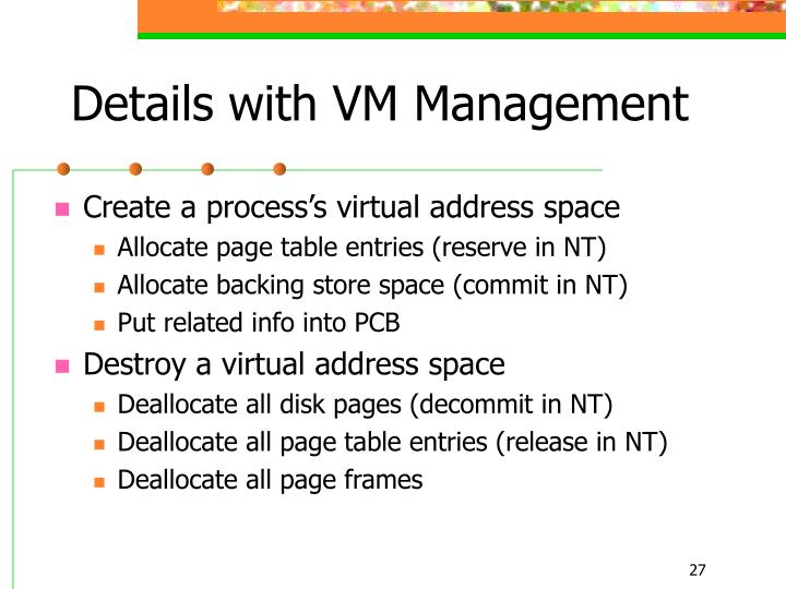 Details with VM Management