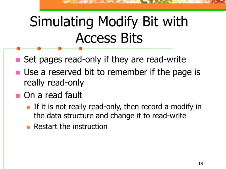 Simulating Modify Bit with Access Bits