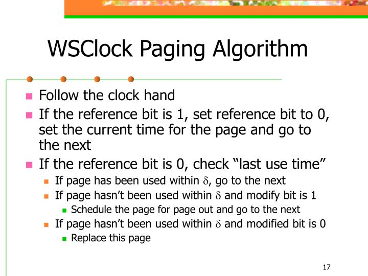WSClock Paging Algorithm