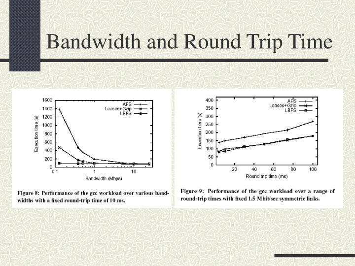Bandwidth and Round Trip Time