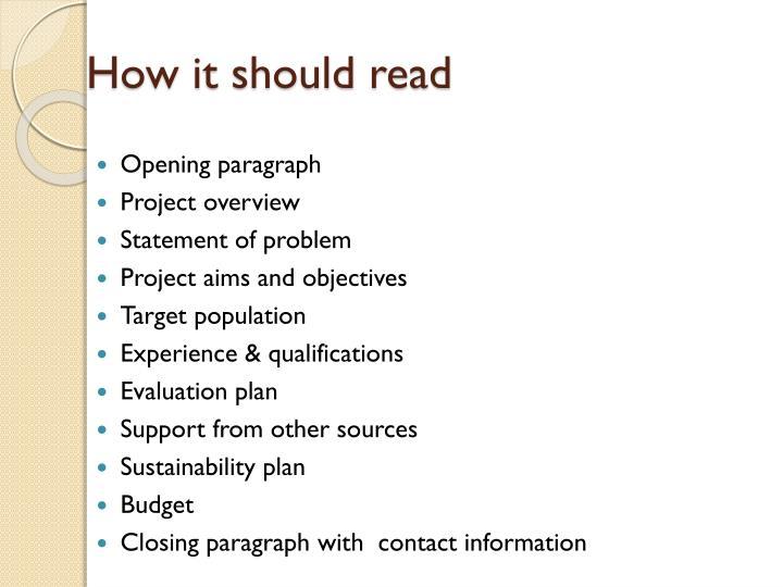 How it should read