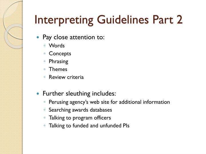 Interpreting Guidelines Part 2