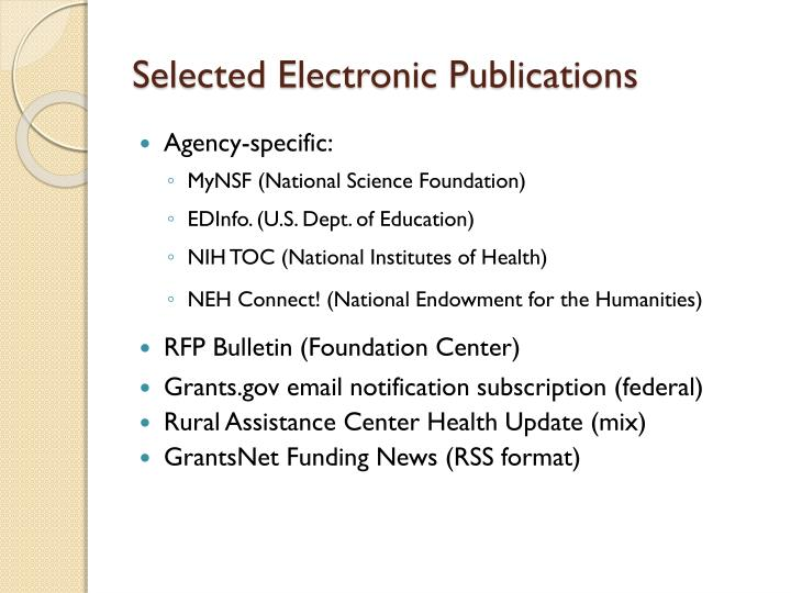 Selected Electronic Publications