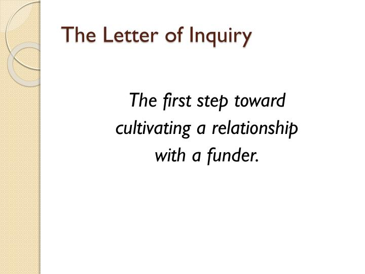 The Letter of Inquiry