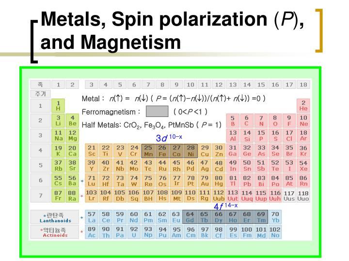 Metals, Spin polarization