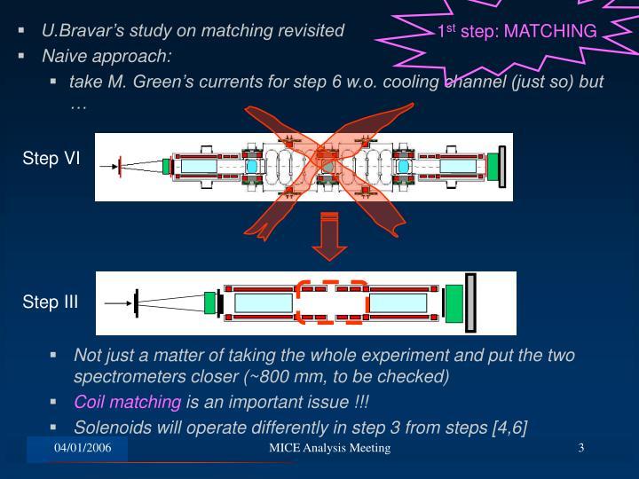 U.Bravar's study on matching revisited