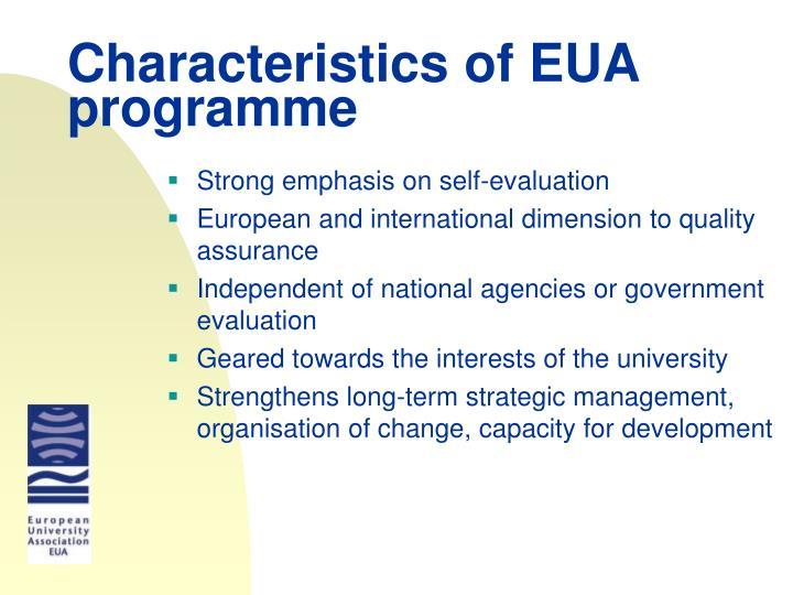 Characteristics of EUA programme