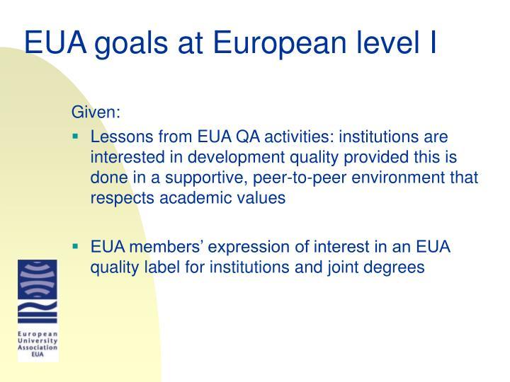 EUA goals at European lev