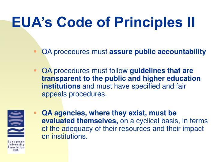 EUA's Code of Principles II