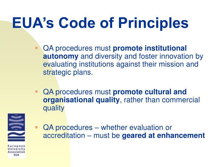 EUA's Code of Principles