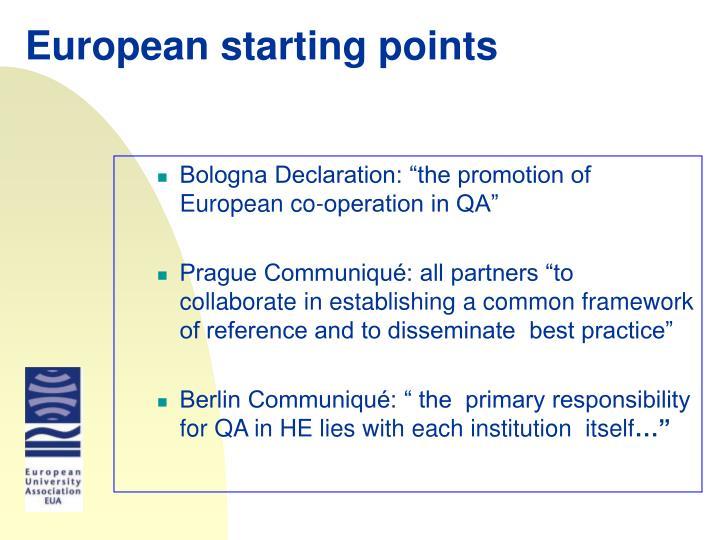 European starting points