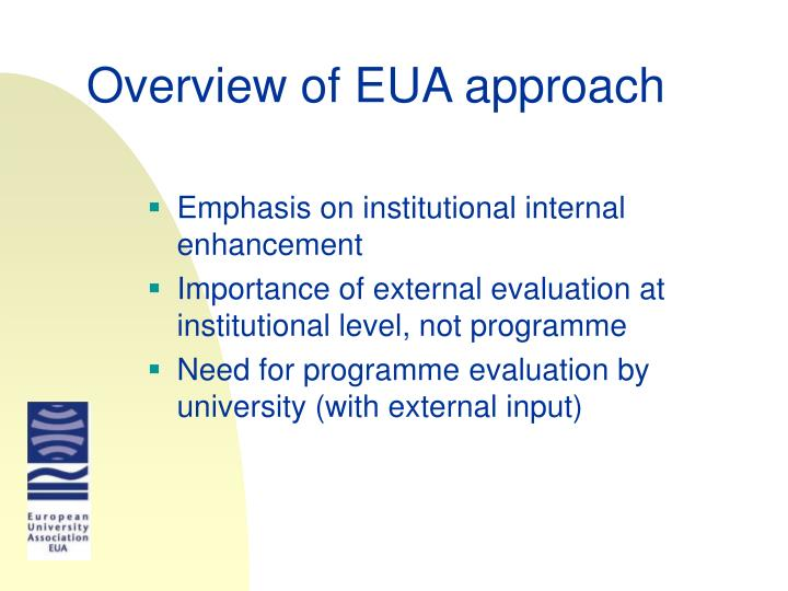 Overview of EUA approach