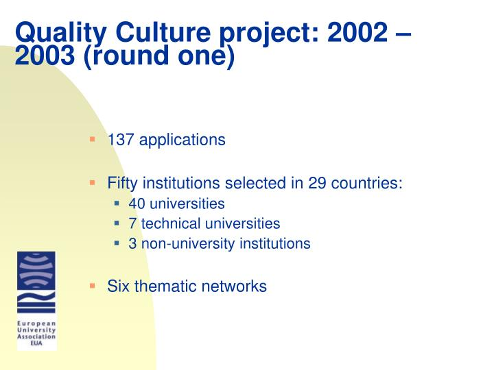 Quality Culture project: 2002 – 2003 (round one)