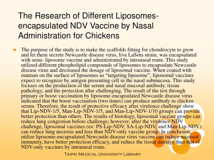The Research of Different Liposomes-encapsulated NDV Vaccine by Nasal Administration for Chickens
