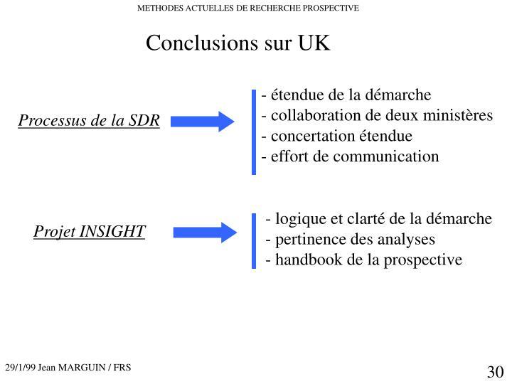 Conclusions sur UK