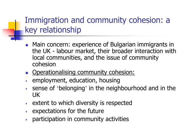 Immigration and community cohesion: a key relationship