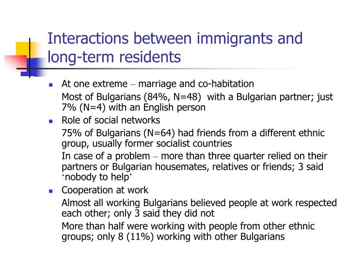 Interactions between immigrants and long-term residents