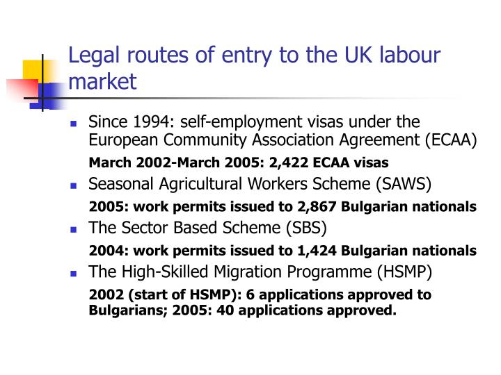 Legal routes of entry to the uk labour market