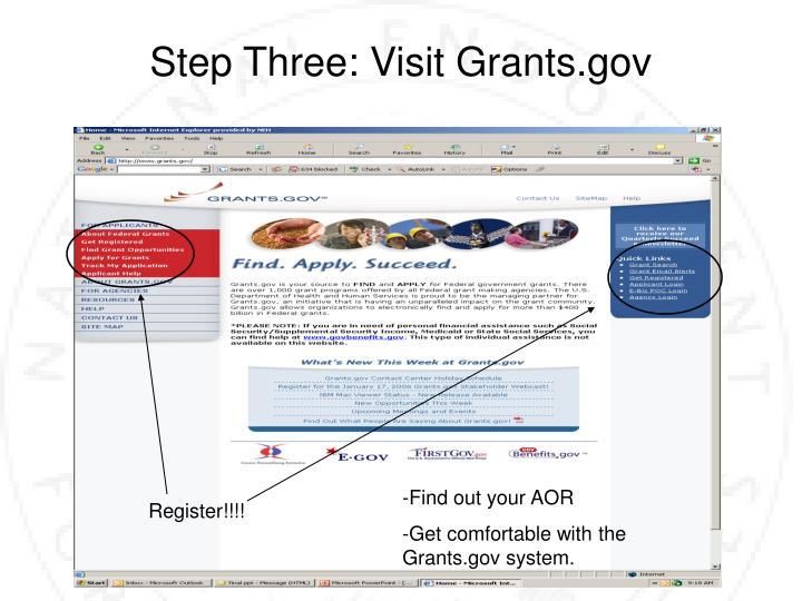 Step Three: Visit Grants.gov