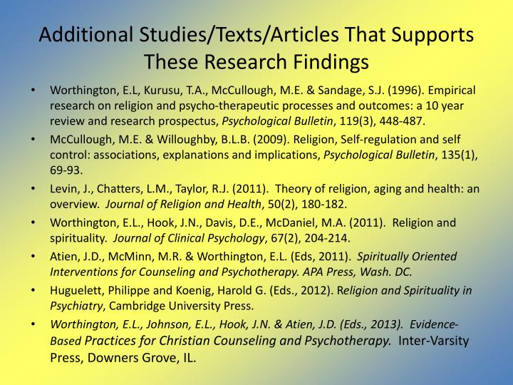 Additional Studies/Texts/Articles That Supports These Research Findings