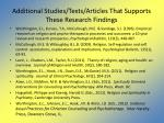 additional studies texts articles that supports these research findings
