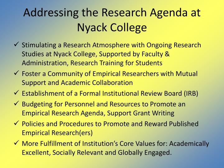 Addressing the Research Agenda at Nyack College