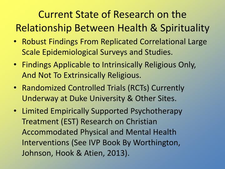 Current State of Research on the Relationship Between Health & Spirituality