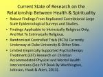 current state of research on the relationship between health spirituality