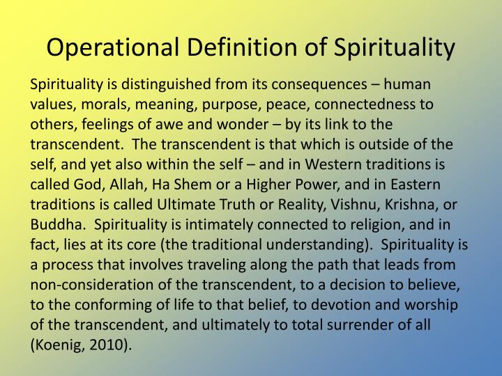 Operational Definition of Spirituality