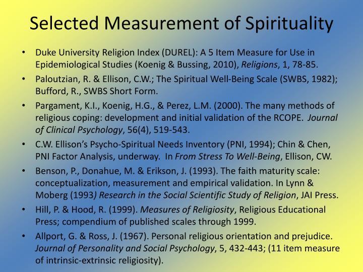 Selected Measurement of Spirituality