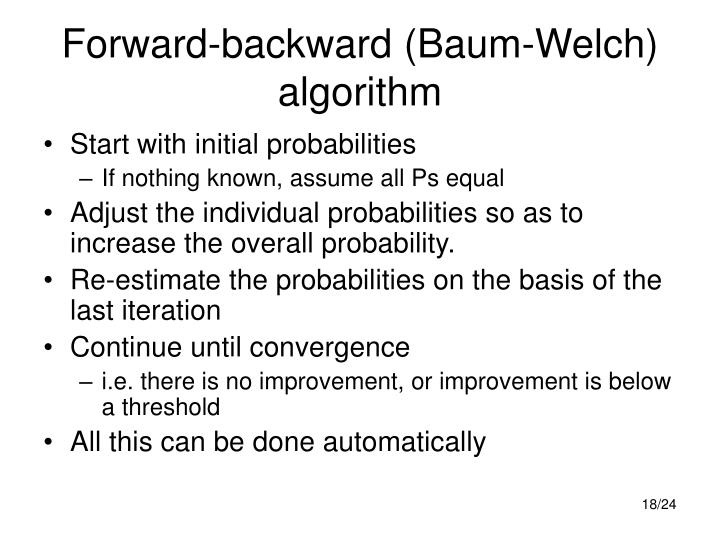 Forward-backward (Baum-Welch) algorithm