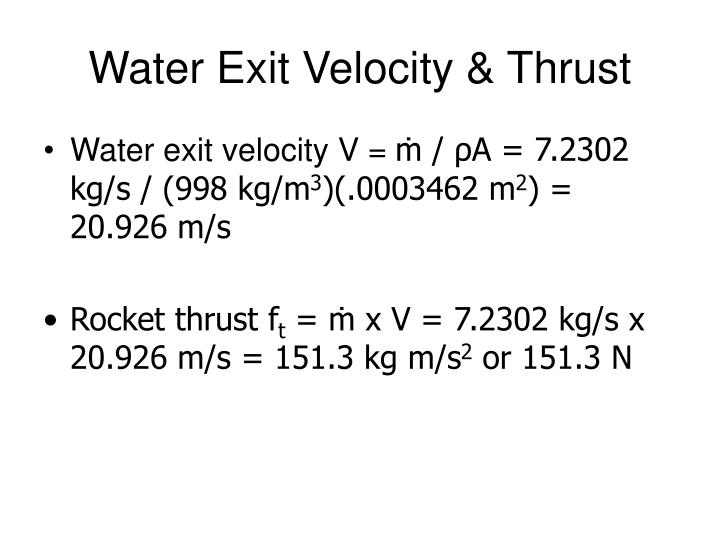 Water Exit Velocity & Thrust