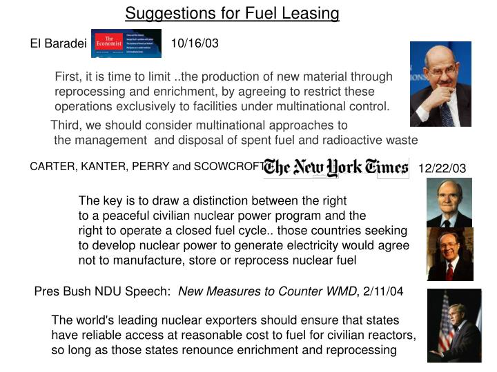 Suggestions for Fuel Leasing