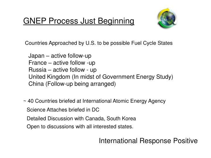 GNEP Process Just Beginning