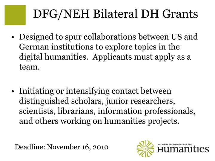 DFG/NEH Bilateral DH Grants