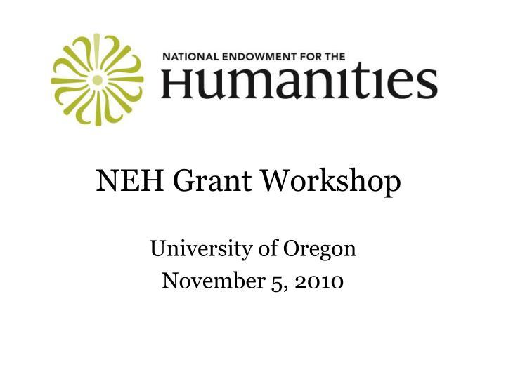 NEH Grant Workshop
