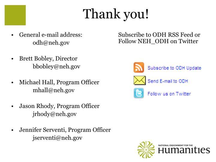 General e-mail address: