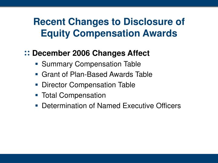 Recent Changes to Disclosure of Equity Compensation Awards