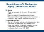 recent changes to disclosure of equity compensation awards3