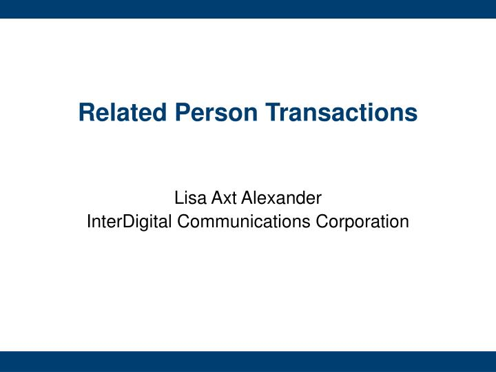 Related Person Transactions