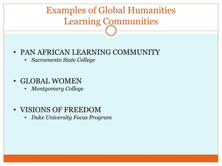Examples of Global Humanities