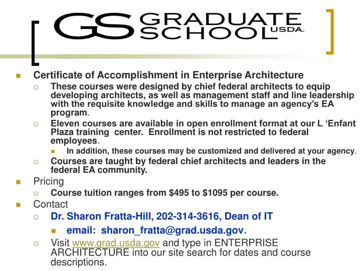 Certificate of Accomplishment in Enterprise Architecture