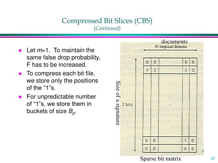 Compressed Bit Slices (CBS)