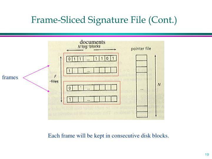 Frame-Sliced Signature File (Cont.)