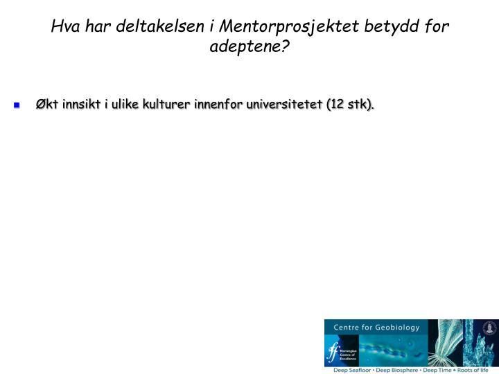 Hva har deltakelsen i Mentorprosjektet betydd for adeptene?