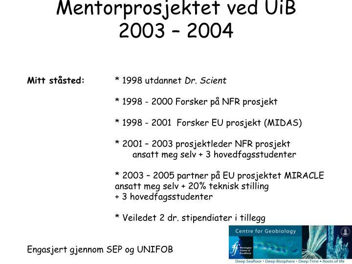 Mentorprosjektet ved UiB