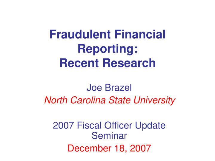 Fraudulent Financial Reporting: