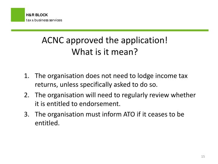 ACNC approved